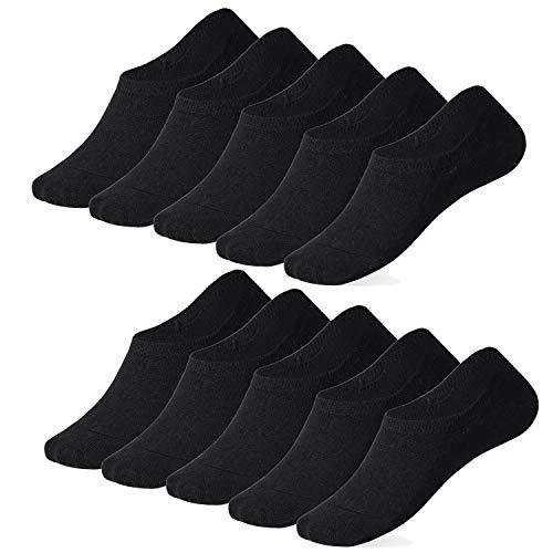 TUUHAW Sneaker Socken Damen und Herren (10x Paar) Füßlinge Großes Silikonpad Anti Rutsch Schwarz 39-42