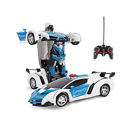 GRTVF 1.18 Transform Auto-Roboter Deformations-Roboter Fernbedienung Spielzeug-Auto 360 ° High-Speed-Drift One Button Transformation mit realistischen Maschinen-Ton-Deformation Auto