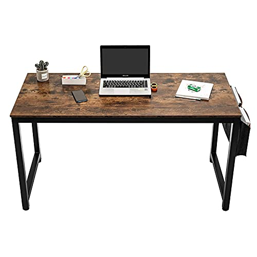 iPEGTOP Writing Computer Desk with Storage, 100cm x 50cm Simple Home Office Work Workstations Writing Table for Students, Sturdy PC Laptop Gaming Desk, Black Metal Frame Industrial Rustic Brown