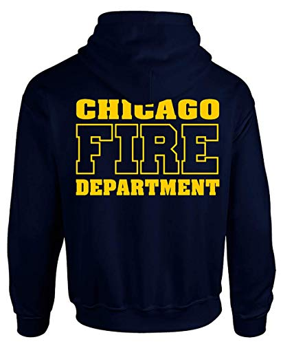 Chicago Fire Dept. - Pullover mit Kapuze - Logo in Gelb (M, Navy)
