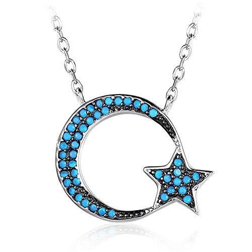 GAOHONGMEI 925 Sterling Silber Zirkonia Crescent Moon Star Anhänger Halskette Feiner Schmuck für Frauen mit 18 Kette-Silver-One size