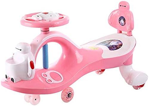 Kinder Twist Car 1-3-6 Jahre alt stumm Rad blitzrad yo Auto schaukel Auto spielzeugauto Roller FANJIANI (Farbe   Rosa, Größe   Flash Wheel)