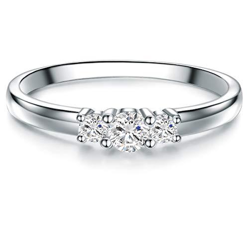 Tresor 1934 Damen-Ring Verlobungsring Sterling Silber 925 mit Topas Trilogy - Topas-ring für Hochzeit Edelstein-Ring für Frauen