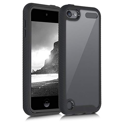 kwmobile Hülle kompatibel mit Apple iPod Touch 6G / 7G (6. und 7.Generation) - Silikon Bumper Hardcover Schutzhülle - Cover in Schwarz Transparent