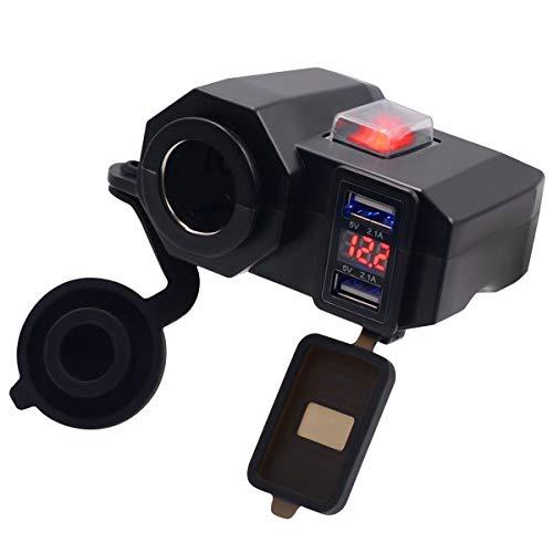 DERCLIVE 1 Pieza Multifunción 12V Cargador de Puerto USB Dual Cargador USB de Motocicleta Toma de Corriente de Motocicleta Negro