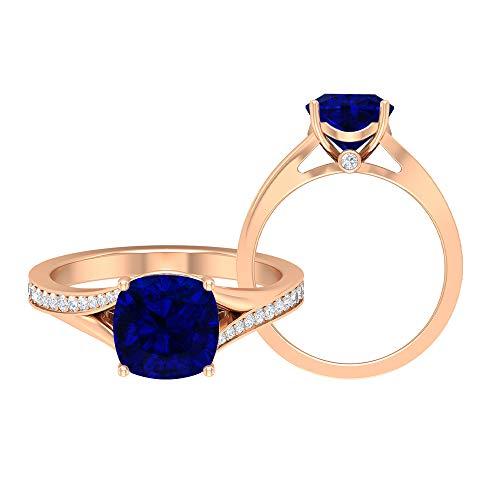 Anillo solitario de corte cojín, anillo de promesa, piedra preciosa de 2,25 quilates, moissanite D-VSSI 8 mm creado en laboratorio zafiro azul, anillo de boda catedral, 10K Oro rosa, Size:EU 51