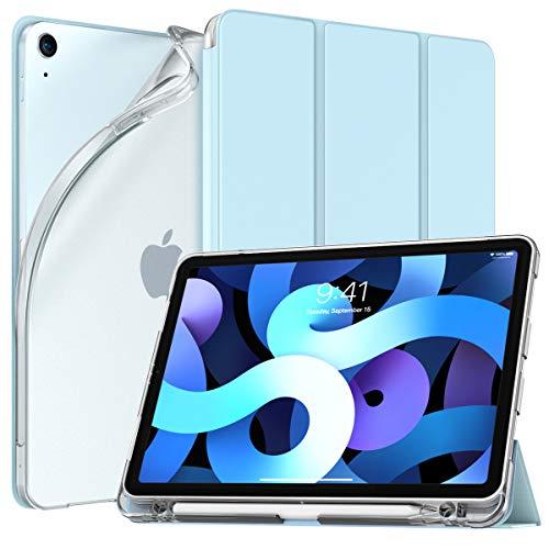 TiMOVO Hülle für mit iPad Air 4. Generation 10.9 Zoll 2020, TPU Schutzhülle Transluzenter Rückendeckel Magnetisch Faltbar Hülle mit Stiftschlitz Auto Schlaf/Aufwach, Himmelblau