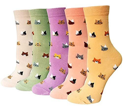 Rembcom Damen Socken Baumwolle 5 Paar Süße Lustige Bunte Socken Damen Thermal Socken Atmungsaktiv We (Katzen)