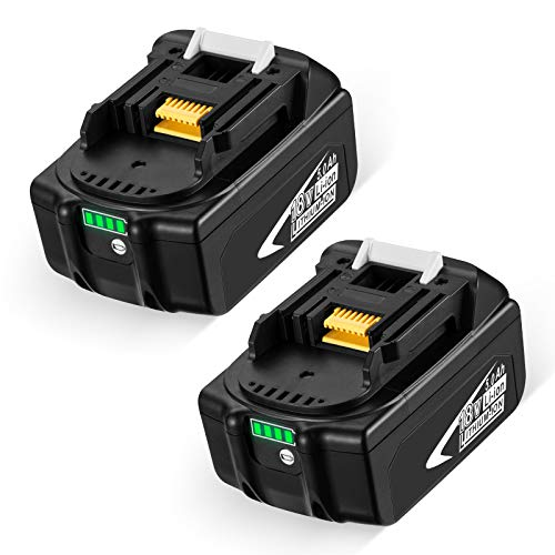 FirstPower 2 Stück 18V 5000mAh BL1860B Ersatzakku mit LED-Anzeige Kompatibel für Makita 18V BL1830B BL1860B BL1840B BL1815 LXT-400