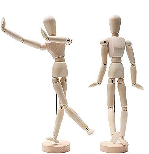 Kurtzy Hölzerne Mannequins (2 Pcs)-30,5cm Menschliche Gliederpuppe aus Holz-Posierbare Modellpuppe mit Ständer, Zeichenpuppe, Holzfigur Zeichnen-Hölzerne Künstlerpuppe für Kunst(Männlich und Weiblich)
