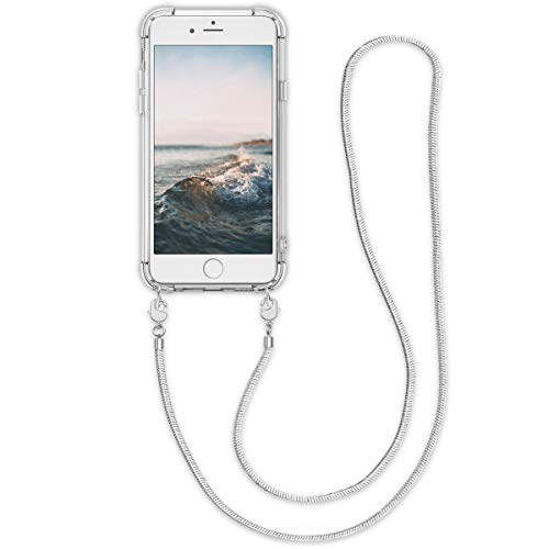 kwmobile Hülle kompatibel mit Apple iPhone 6 / 6S Hülle - Handykette - Silikon Handyhülle Schutzhülle Cover Case Transparent Silber