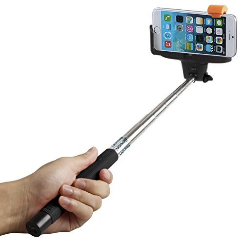 Selfie Stick, Flexion QuickSnap Pro 3-In-1 Self-portrait Monopod Extendable Wireless Bluetooth Selfie Stick with built-in Bluetooth Remote Shutter