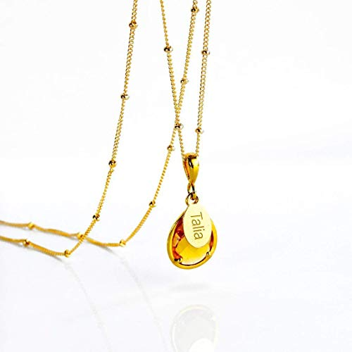 Personalized Citrine Necklace, November Birthstone Pendant Necklace [TPwOV]