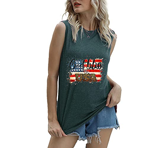 Mayntop Camiseta de manga corta para mujer con diseño de bandera de Estados Unidos con texto en inglés 'God Bless' para el 4 de julio, A-verde oscuro, 42