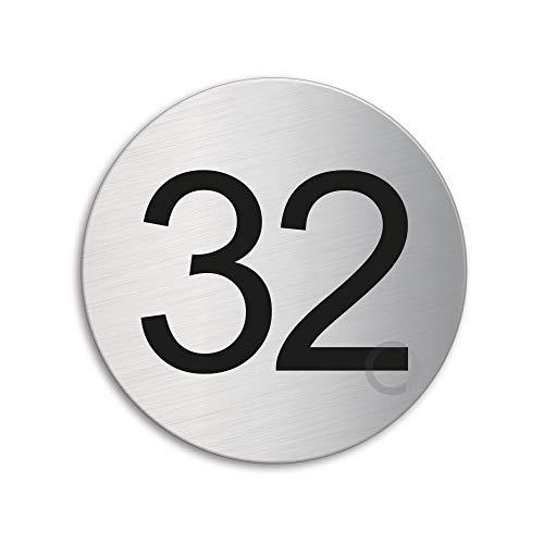 Plaque Numéro de porte 32 | Ø 75 mm autocollant | acier inox brossé 41022