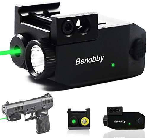 Benobby Green Laser Sight 300 lm Strobe Flashlight Laser Sight for Pistol Compact Rail Mount product image