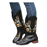 Botas retro para mujer con cremallera en el talón cuadrado bordado en el tubo central, botas redondas, zapatos de estilo occidental, botas de vaquero, botas de invierno, botas de tobillo