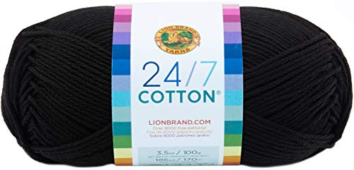 Lion Brand Yarn 24/7Cotton Yarn, Black