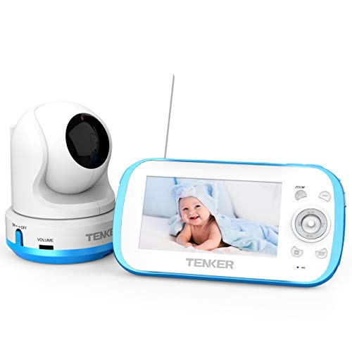 "TENKER Video Baby Monitor with Camera and Audio, 4.3"" LCD Baby Monitor with Night Vision, Non-WiFi, VOX, Lullaby, Two Way Talk, Temperature Detection, 270°Pan-Tilt-Zoom and Video Record Monitors"