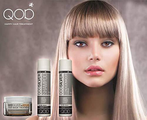 QOD SILVER Anti-Gelb Haar Shampoo und Conditioner 2x300ml (10oz), Maske(210ml) + Argan Öl(60ml) No Yellow Shampoo - Anti-Gelbstich Shampoo, Conditioner und Shampoo