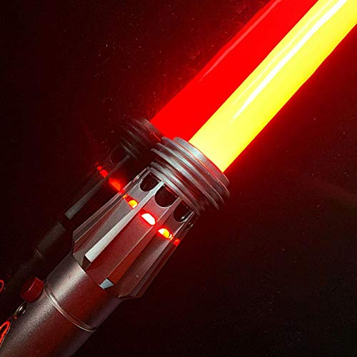 YDDSABER Maul Lightsaber Double Blade Jedi Sith Darth Light Saber with Red Light and Sound (Motion Sensitive) for Galaxy War Fighters, Metal Hilt