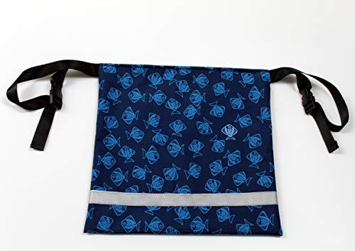 Urinbeuteltasche blickdicht und diskret, für Urinbeutel, Befestigung am Rollstuhl, Softshell, mit Reißverschluss, Motiv blau Fische