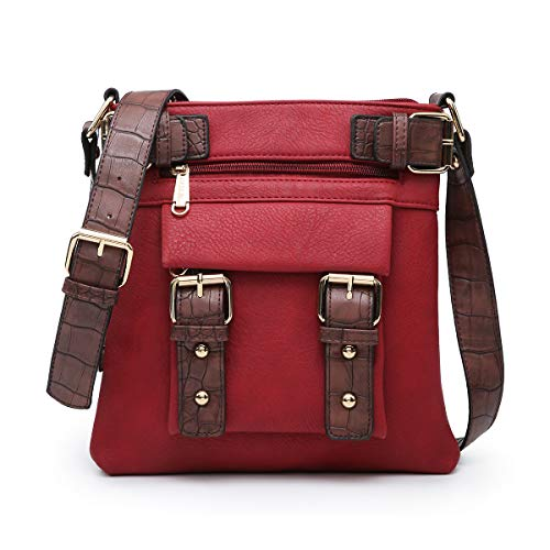 Dasein Top Belted Crossbody Bags for Women Soft Leather Messenger Bag Shoulder Bag Travel Purse (large size-red)