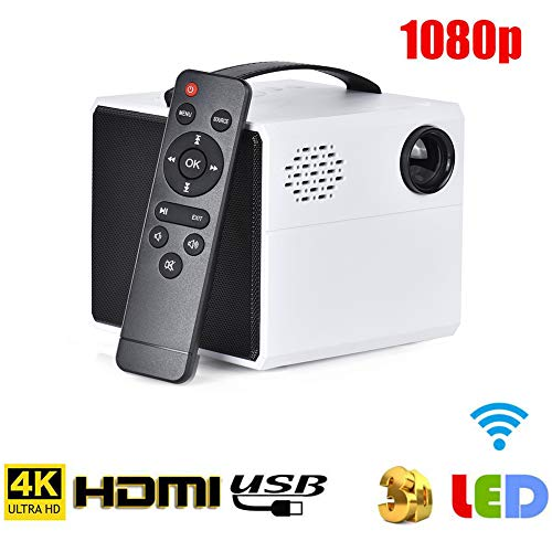 RSGK Proyector LED De Alta Definición con Soporte 1080P,...