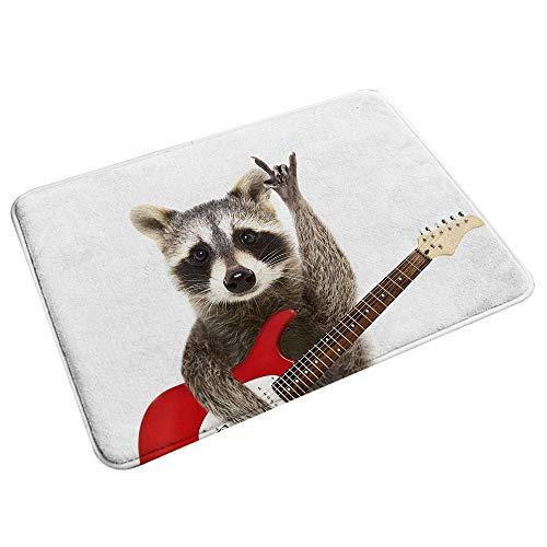 "Non-Slip Bath Mat,Portrait of A Funny Raccoon with Electric Guitar Showing A Rock Gesture,Microfiber Decor Bathroom Plush Mat Floor Rug 29.5""X17.5"""