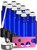 10 Pack - Essential Oil Roller Bottles [Metal Chrome Roller Ball] FREE 1 x Plastic Pippette, 1 x Funnel and 1 x Bottle Opener Refillable Glass Color Roll On for Fragrance Essential Oil - 10 ml 1/3 oz
