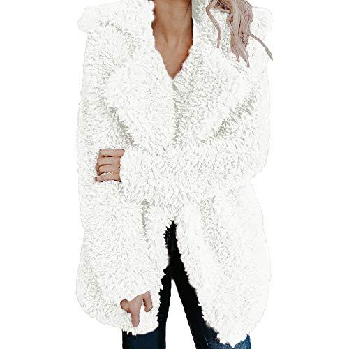 IZHH Damen Mantel Frauen Damen Warm Künstliche Mantel Jacke Revers Winter Oberbekleidung Frauen Damen Warm Faux Jacke Jacke Revers Winterjacke(Weiß,Medium