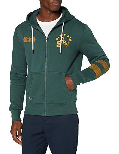Superdry Mens T&F Classic Zip Hood Sweater, Enamel Green, X-Large