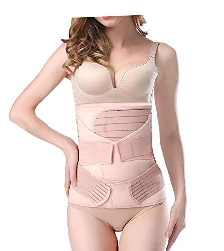 SHYL~JIER Postparto vientre Wrap 3 en 1 Post Partum Support Recovery – Cinturón de vientre, cintura/pelvis para mujer, moldeador de cuerpo de barriga bandido cintura faja (XL, beige)