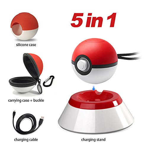 5 in 1 Pokeball Plus Charger Stand Charging Station Holder Fast Charging Cord Cable, Carrying Case, Silicone Cover Pokeball Accessories Kit for Nintendo PokMon Lets Go Pikachu Eevee Game Controller