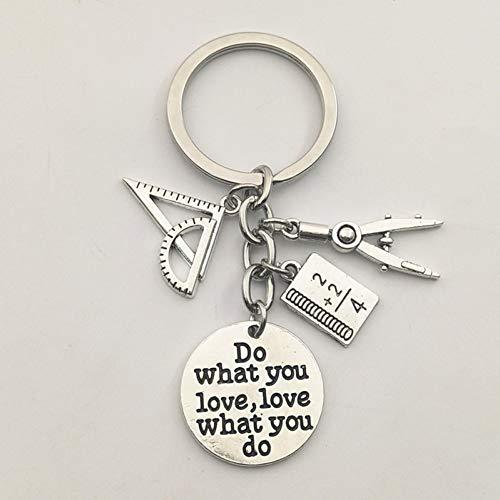 N/ A 1 Maak je lievelingssieraden leraar sleutelhanger leerliniaal potlood kompas cadeau