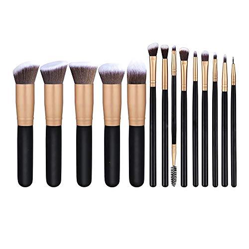 14 pinceaux de maquillage en poudre de base synthétique pour pinceaux de kabuki anti-cernes ombres à paupières maquillage kit de brosses Brosse à maquillage XXYHYQ (Color : Noir, Size : Libre)