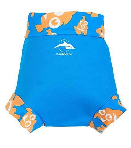 Konfidence Unisex Baby neonappy Schwimmhose Schwimmwindel Cover, Blau (Cyan/Clownfish), XX-Large