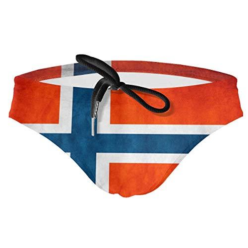 NiYoung Men & Boy's Bikini Briefs Athletic Swimwear Swimming Triangle Shorts Low Waist Adjustable Drawstrings Waterpolo Swim Briefs (Vintage Norway Norge Flag Briefs)
