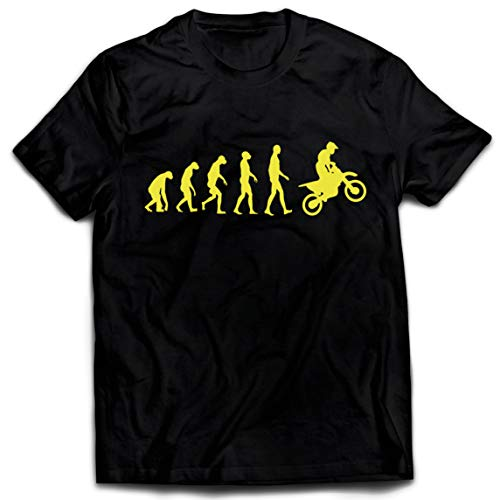 lepni.me Camisetas Hombre Evolución del Motocross Equipo de Moto Ropa de Carreras Todoterreno (X-Large Negro Amarillo)