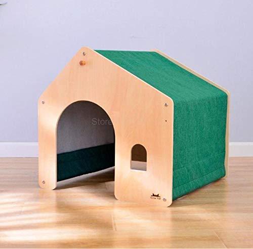 Dierbenodigdheden verwijderbaar en wasbaar Warm houten hondenhok Villa Dierbenodigdheden Dierkamer Binnen huisdierbed