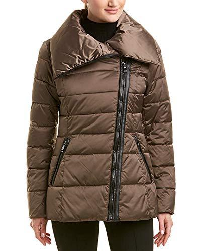 Tahari Blair Women's Asymmetric Moto Puffer Jacket Taupe Size XXS