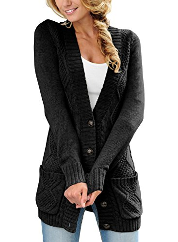 Happy Sailed Damen Langarm Strickjacke Cardigan Strickcardigan mit Knopf ,Schwarz,M