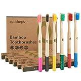 EcoSlurps 6 Paquete familiar de cepillos de dientes de bambú | Árbol plantado con venta | Cepillo de dientes de madera orgánica compostable Multipack | Regalo ecológico cepillos de dientes