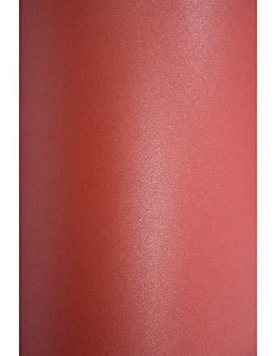 20 x Perlmutt-Rot 120g Papier DIN A4 210x297 mm Aster Metallic Ruby Pearl-Papier doppelseitig glänzend Perlglanz-Bastel-Papier Effekt-Papier Perlmutt für DIY Handwerk zum Basteln und Dekorieren