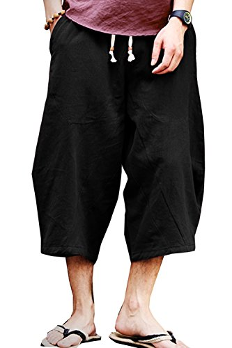 MLDYGYC Mens Casual Elastic Waist Baggy Patchwork Linen Shorts Harem Capri Pants (Waist: 36-39 inch = Asian Tag 4XL, Black)