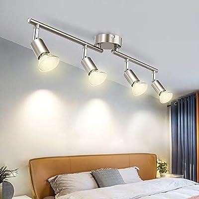 DLLT Modern LED 4 Light Track Lighting Kit, Flush Mount Wall or Ceiling Spot Lights Fixtures, Flexibly Adjustable Decorative Accent Lamp for Kitchen, Living Room, Bedroom, Hallway GU10 Bulbs Included