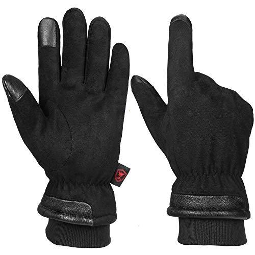 OZERO Herrenhandschuhe, wasserdichte Lederhandschuhe mit Touchscreen-Fingerspitzen für warme Hände im Winter, 1 Paar, L, Schwarz