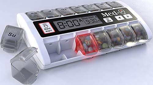 MED-Q Digital Pill Box Organizer, 2 Beep Reminder, LED Alert, WHITE