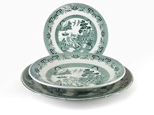 H&H 825248 English Chintz-Vajilla (cerámica, 18 Piezas), Color Verde, gres