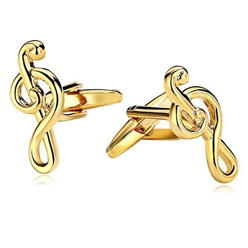 SonMo 1 Paar Manschettenknopf Herren Manschettenknöpfe Zeichen Notenschlüssel Elegante Gold 1.1×2.5 cm mit Geschenkbox